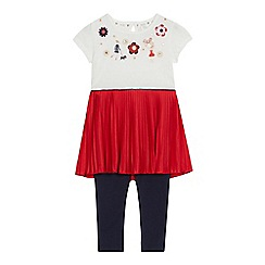 J by Jasper Conran - Girls' red applique dress and leggings set