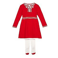 J by Jasper Conran - Girls' red knitted dress and tights