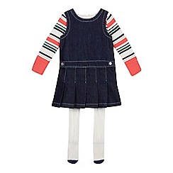 J by Jasper Conran - Girls' blue denim pinafore, top and tights set