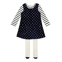 J by Jasper Conran - Girls' navy spotted pinafore, striped top and tights set