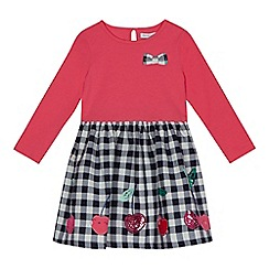 bluezoo - Girls' pink gingham print mock dress