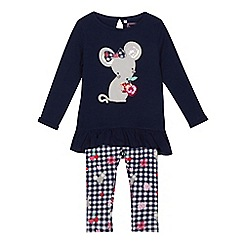 bluezoo - Girls' navy mouse applique top and leggings set