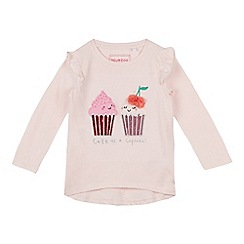 bluezoo - Girls' pink cupcake applique t-shirt