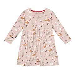 bluezoo - Girls' light pink bunny print jersey dress