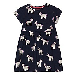 bluezoo - Girls' navy unicorn print dress