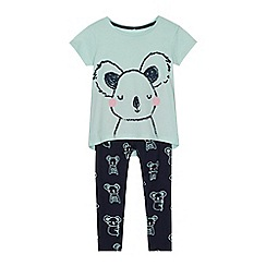 bluezoo - Girls' pale green koala print t-shirt and navy leggings set