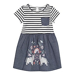 bluezoo - Girls' blue striped chambray embroidered unicorn dress