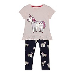 bluezoo - Girls' pink sequinned unicorn top and leggings set