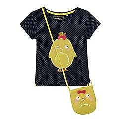 bluezoo - Girls' navy chick applique top with a bag