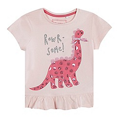 bluezoo - Girls' pink 'Rawr-some!' dinosaur applique top