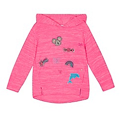 bluezoo - Girls' pink badge applique hoodie