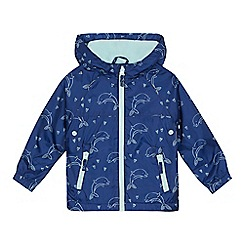 bluezoo - 'Girls' navy dolphin print shower resistant jacket