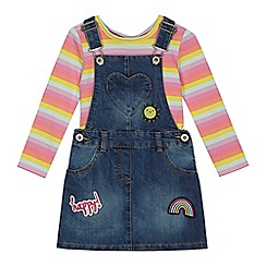 bluezoo - Girls' blue denim dungarees and multi-coloured striped top set