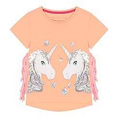 bluezoo - 'Girls' orange sequinned unicorn t-shirt