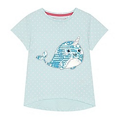 bluezoo - 'Girls' aqua spotted sequinned narwhal t-shirt