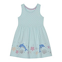 bluezoo - 'Girls' light green spotted dolphin applique dress