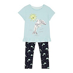 bluezoo - 'Girls' aqua sequinned dolphin t-shirt and leggings set