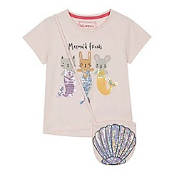 bluezoo - Girls pink sequinned 'Mermaid Friends' t-shirt and bag set