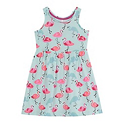 bluezoo - 'Girls' pale blue flamingo print dress