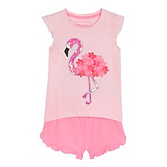 bluezoo - 'Girls' pink flamingo embroidered top and shorts set