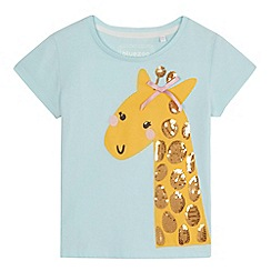 bluezoo - 'Girls' aqua sequinned giraffe applique t-shirt