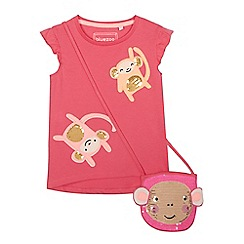 bluezoo - 'Girls' pink sequinned monkey t-shirt and bag set