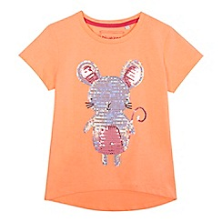 bluezoo - 'Girls' coral sequinned mouse t-shirt