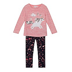 bluezoo - Girls' pink unicorn applique top and navy leggings set