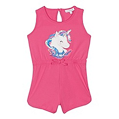 bluezoo - 'Girls' pink sequinned unicorn playsuit