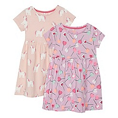 bluezoo - Pack of 2 girls' lilac and pink lollipop and unicorn print jersey dresses