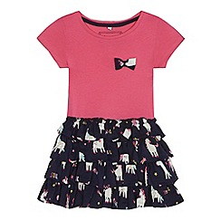 bluezoo - 'Girls' navy unicorn print rara dress
