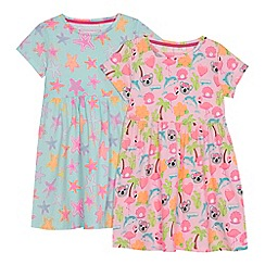 bluezoo - Pack of 2 multi-coloured floral print short sleeve dresses