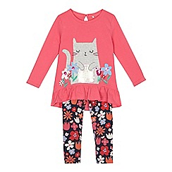 bluezoo - Girls' pink cat applique top and floral print leggings set