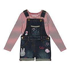 bluezoo - Girls' multi-coloured denim dungarees and striped top set