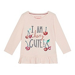 bluezoo - Girls' pink 'I Am Cherry Cute' print t-shirt