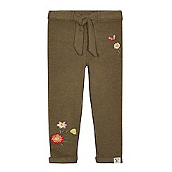 Mantaray - Girls' khaki embroidered jogging bottoms