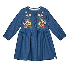 Mantaray - Girls' blue denim floral embroidered dress