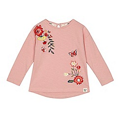 Mantaray - Girls' pink floral embroidered t-shirt