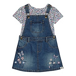 Mantaray - Girls' blue denim embroidered pinafore dress and floral print top set