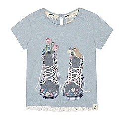 Mantaray - Girls' blue boot applique t-shirt