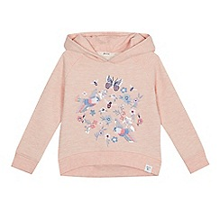 Mantaray - Girls' light pink bird embroidered hoodie