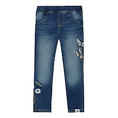 Mantaray - Girls' blue butterfly embroidered jeggings