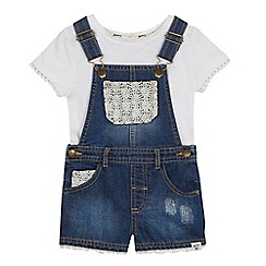 Mantaray - Girls' blue embroidered top and dungarees set