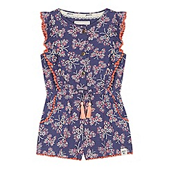 Mantaray - Girls' navy butterfly print playsuit