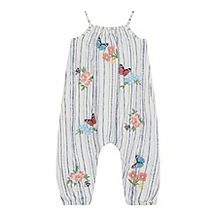 Mantaray - 'Girls' white striped floral embroidered jumpsuit