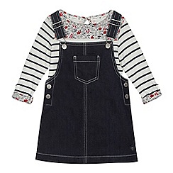 J by Jasper Conran - Girls' white striped top and denim pinafore set