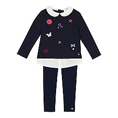 J by Jasper Conran - Girls' navy mock badge top and leggings set