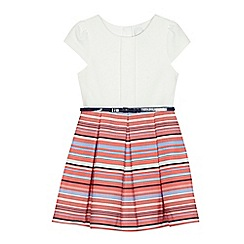 J by Jasper Conran - Girls' white and pink striped belted dress