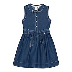 J by Jasper Conran - Girls' dark blue floral embroidered denim dress
