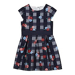 J by Jasper Conran - Girls' navy burn out gingham floral print dress